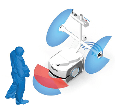 Omron LD Series Mobile Robot Interacting Safely with a Person