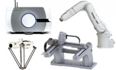 silhouette images of Omron LD Series mobile robot, Omron Adept Viper six-axis robot, Omron Adept Hornet 565 parallel robot, IAI Multi Axis Cartesian Robot