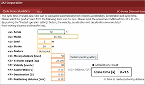 IAI cycle time calculators