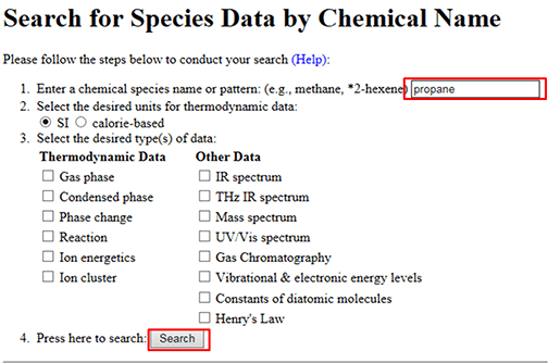 Search For Species by Chemical Name