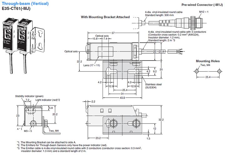 Omron E3S-C Long-Distance Compact Photoelecic Sensor in Oil-Resistant Metal Housing