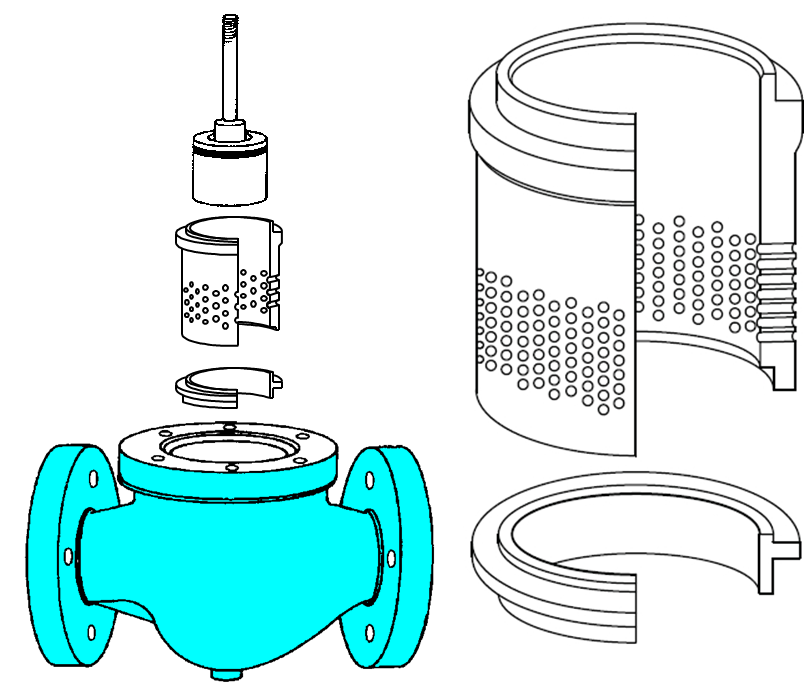 Figure 2. Implementation of flow division in a globe control valve.