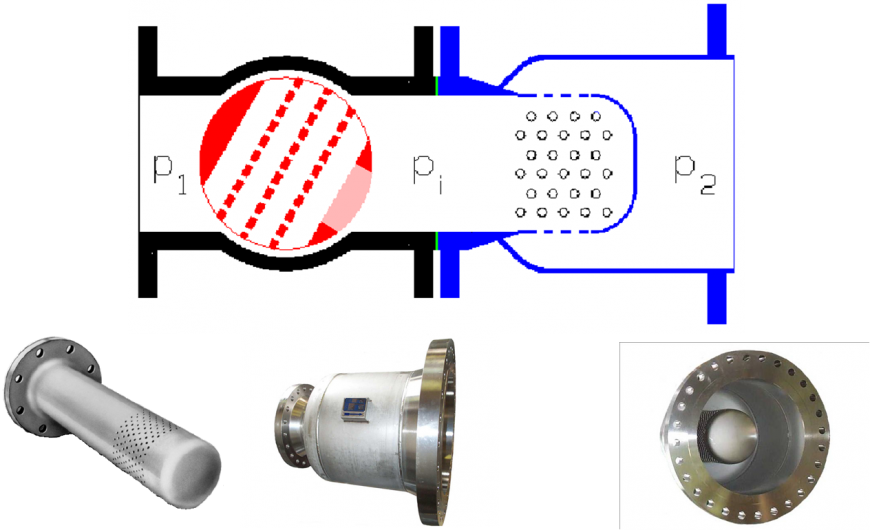 Figure 6. An inline diffuser installed downstream of a low noise ball control valve.
